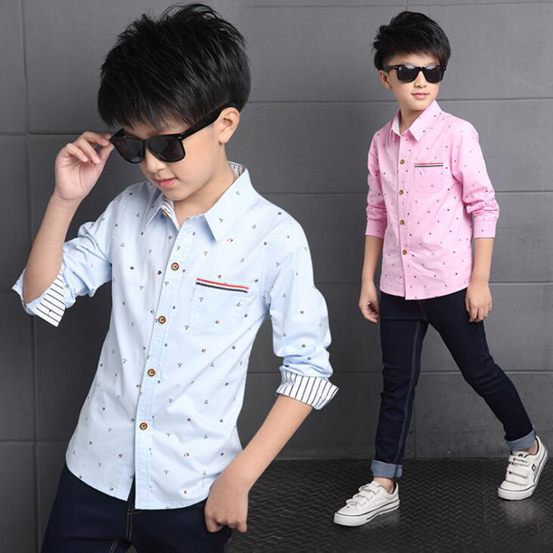 Boy's pink shirt spring 2017 new children's fashion shirt for baby boy printed cotton long sleeve shirt collar teenagers tops штатный автомобильный ultra hd 1296p видеорегистратор с gps avs400dvr 101 для audi с датчиком дождя
