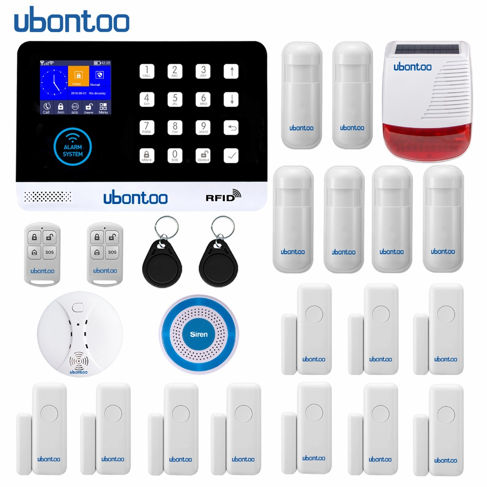 ubontoo Multiple Language WIFI GSM Home Burglar Security Alarm System Motion Detector APP Control Fire Smoke Detector Alarm