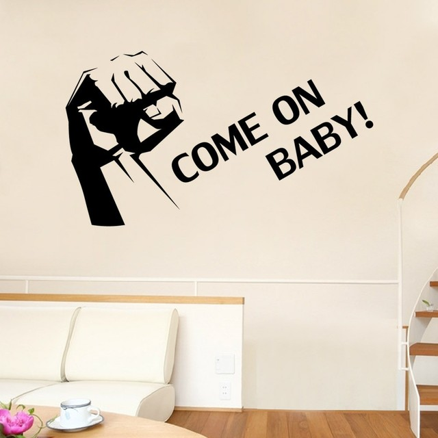 Come on baby wall stickers english encouragement vinyl decals kids room nursery decoration removable wallpaper