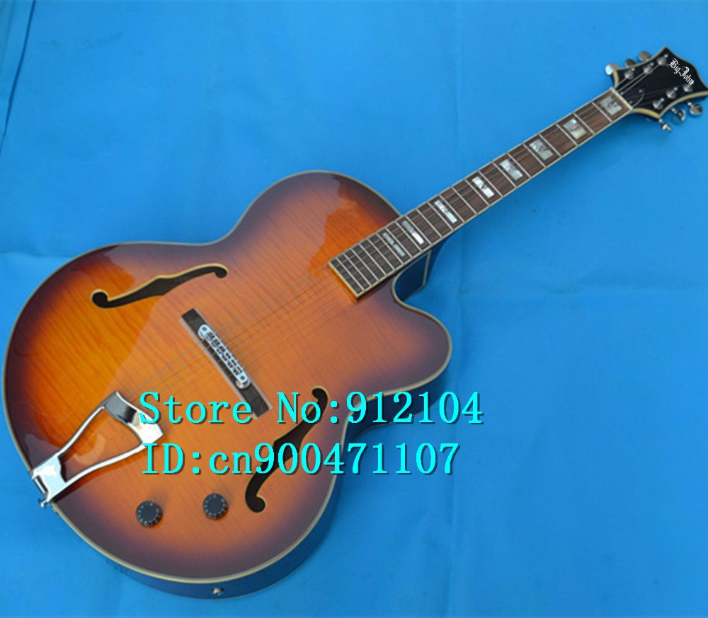free shipping new Big John hollow acoustic guitar with mahogany body  and chrome hardware in orange made in China F-3079 best china guitar luxury alpine white supreme mahogany electric guitar gold hardware free shipping