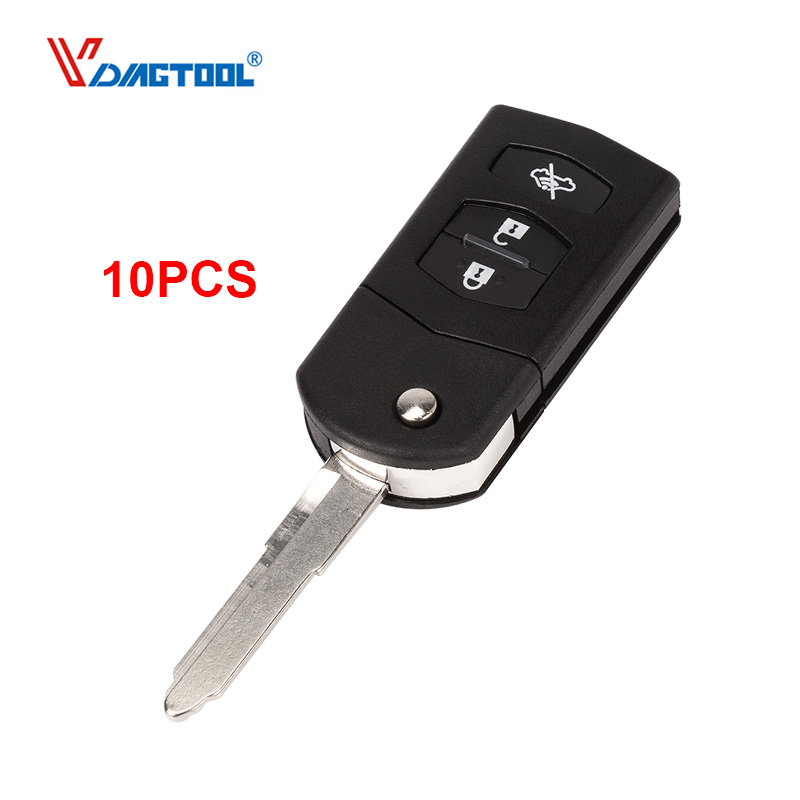 VDIAGTOOL 10pcs NEW Style For Mazda Remote 3 buttons flip Car key Shell Key Blank Case original key Fob with battery place image