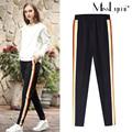 XXXL 4XL 5XL Plus Size Trousers for Women 2017 Spring Fashion Colored Stripes Elastic Waist Loose Casual Harem Pants Black