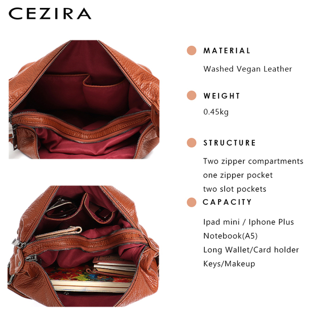 CEZIRA Fashion Women Handbag Washed Vegan Leather Shoulder Messenger Bags Casual Pockets Bags PU Bolsa Feminina Cross body Bags 4