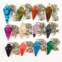 (Min.order 10$ mix) Beautiful 12pcs/lot Wholesale Mixed Natural Stone Pendulum Pendant Beads BB23