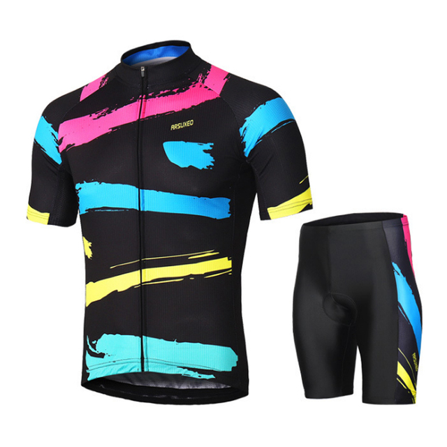 Men's Cycling Sets Bike Jersey Short Sleeves Mountain Bike MTB Sets with Shirt padded Shorts Maillot Ropa Ciclismo
