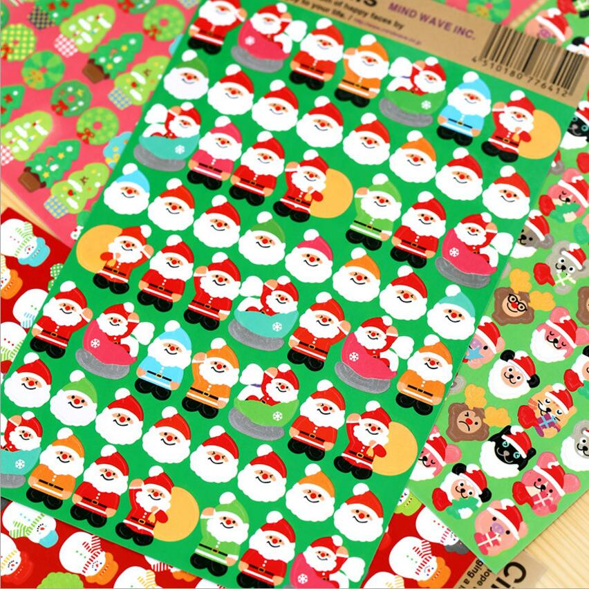 8 pcs Lot kawaii Merry xmas stickers Happy christmas font b PET b font stickers Santa
