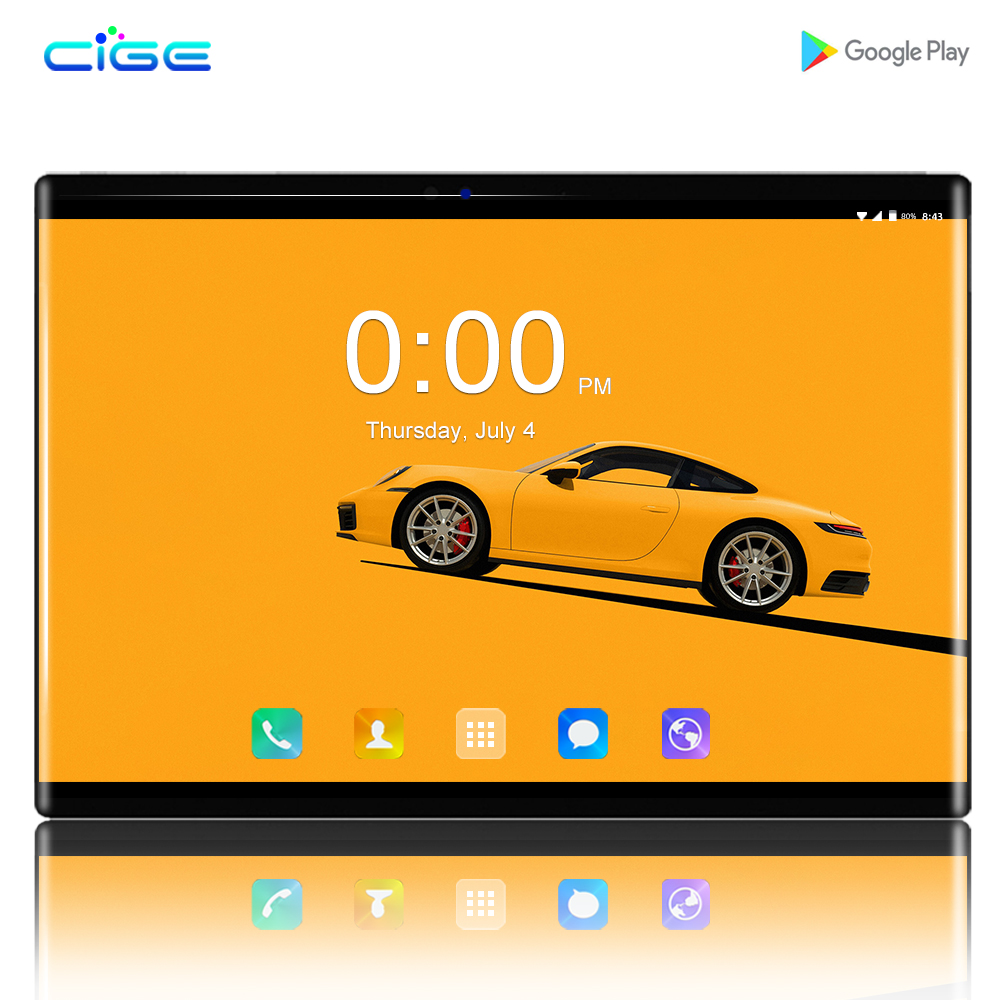 CIGE N9 IPS Gaming PC 2.5D Glasses Tempered Phone Tablets 10.1 Inch Android 8.0 1280x800 64GB ROM Tablet PC 6GB Ram 8MP