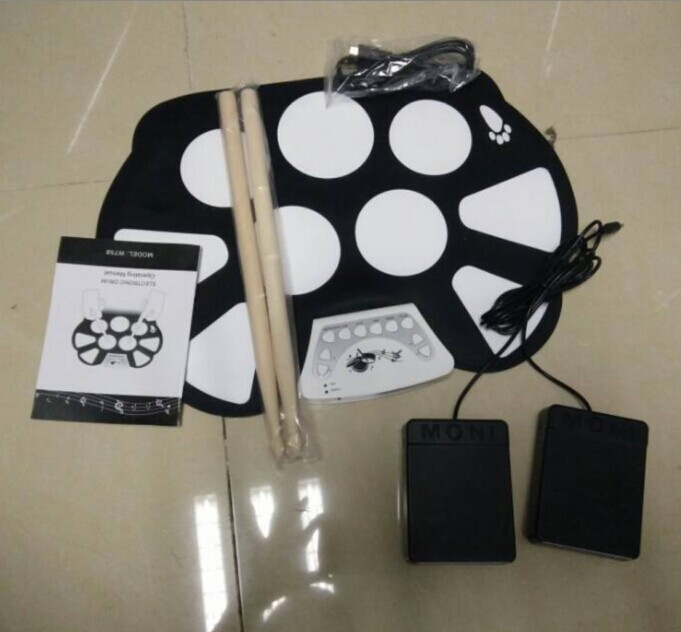 SEWS Digital PC Desktop USB Silicon Foldable Roll Up Drum Pad Kit With Stick New Arrival 6pcs set 39x 27 5x2 5cm silica gel foldable portable roller up usb electronic drum kit 2 drum sticks 2 foot pedals