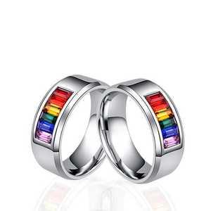 Мужские Женские радужные красочные LGBT кольцо из нержавеющей стали обручальное кольцо Lebian & Gay кольца Прямая поставка