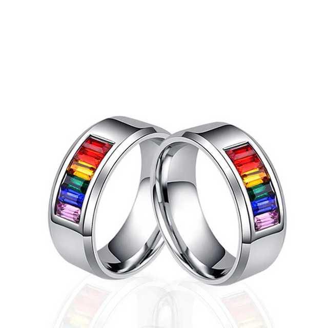 Męskie damskie Rainbow kolorowe LGBT pierścień obrączka ślubna ze stali nierdzewnej Lebian i gejów pierścienie Drop Shipping