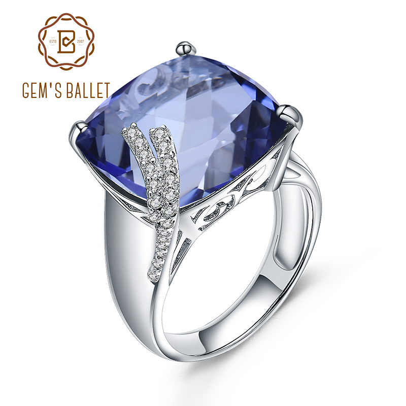 Gem's Ballet Natural Iolite Blue Mystic Quartz 925 Sterling Silver Gemstone Cocktail Rings For Woman Vintage Fine Jewelry