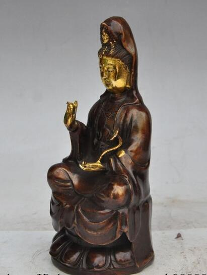 free shipping S2714 tibet buddhism bronze gilt ruyi lotus Kwan-Yin GuanYin Bodhisattva buddha statue tibet buddhism copper bronze green tara guan yin boddhisattva buddha god statue