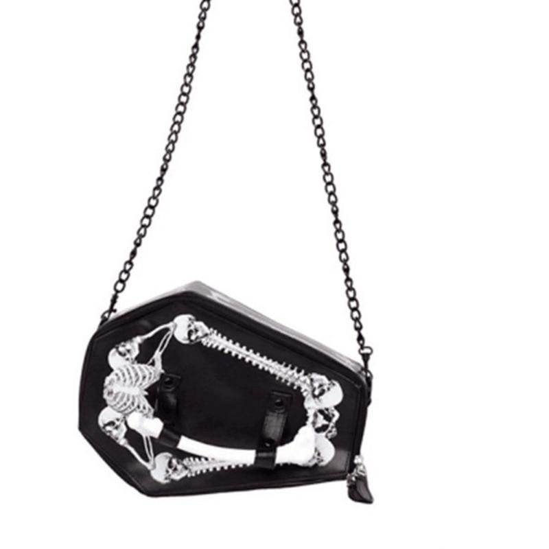 JIEROTYX Skulls Bats Design Womens Bags Handbags Crossbody Girls Shoulder Messenger Bag Female Black Punk Gothic Drop Ship