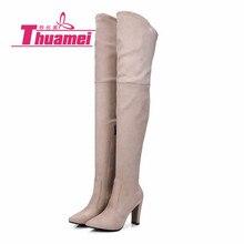 Узкие сапоги из искусственной замши на высоком каблуке 9 см пикантные Женские Сапоги выше колена зимняя обувь осень# Y0767136F