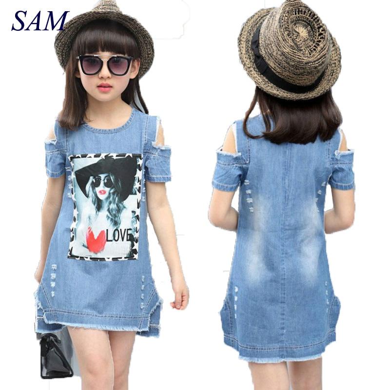 Kinder Kleider Für Mädchen Denim Kleid Sommer Trägerlosen Kleid Muster Mädchen Bekleidung Kurzarm Kind Kleidung Denim T-Shirts