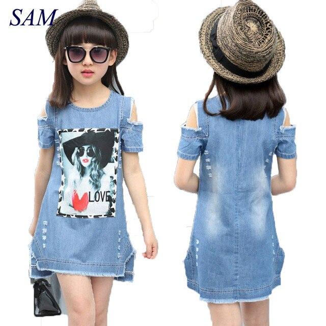 Детские платья для девочек джинсовое платье летнее платье-бюстье одежда для девочек с рисунком детская одежда с короткими рукавами джинсов...