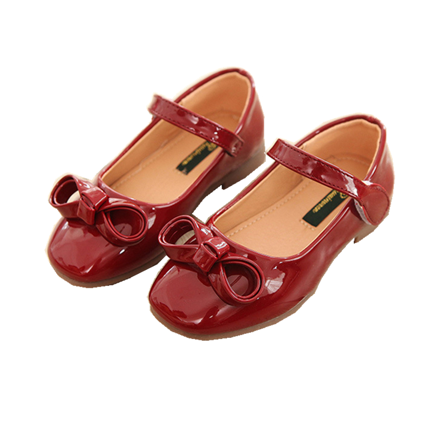 2018 Gilrs Spring Shoes Breathable Princess Dance PU Red Wine Candy Bowtie Student Childrens Flat Casual Shoes Size22-36
