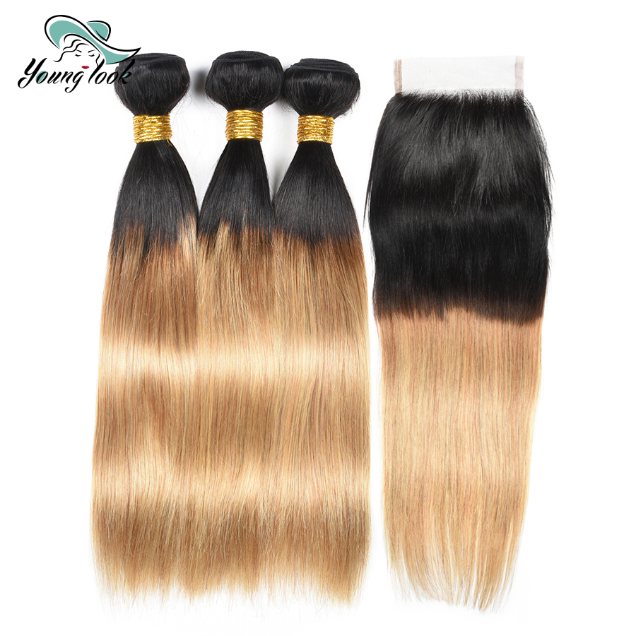 Young Look Brazilian Straight Hair With Closure 1b/27 Omber Human Hair 3 Bundles with Closure Free Part Non Remy Hair Extension
