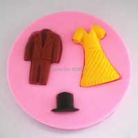 Cute Dress shaped cake decorating mold tools Chocolate Candy Jello 3D Mold Mould Cartoon Figure/cake tools  FM124