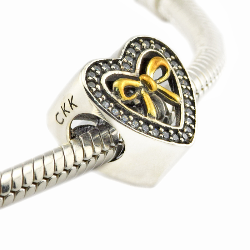 Fits For Pandora Bracelets Bound by Love Charms With Real 14K Gold 100% 925 Sterling Silver Beads Free Shipping