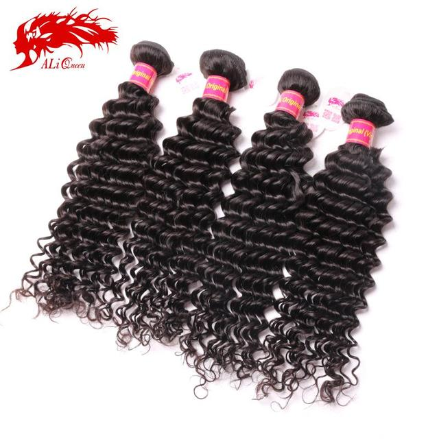 Ali Queen Hair brazilian deep wave curly virgin hair 4pcs/lot, Unprocessed Brazilian curly Virgin Hair 4 bundles