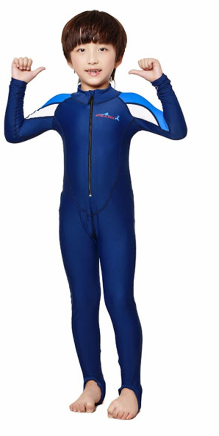 Buy children kids lycra sports stinger suit one piece sun protection jumpsuit for Children s swimming pool wetsuit