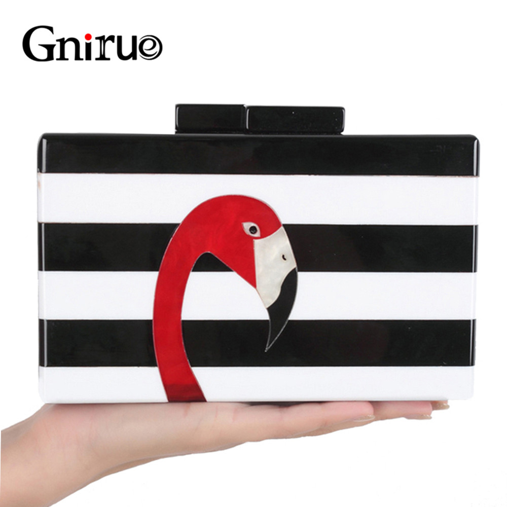Fashion Brand Purse Women Messenger Bags High-end Elegant Black and White Striped Acrylic Flamingo Pattern Evening Clutch Bag flamingo embroidered striped top and curved hem shorts set