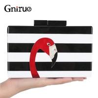 Modemerk Portemonnee Vrouwen Messenger Bags High-end Elegante Zwart-wit Gestreepte Acryl Flamingo Patroon Avond Clutch Bag