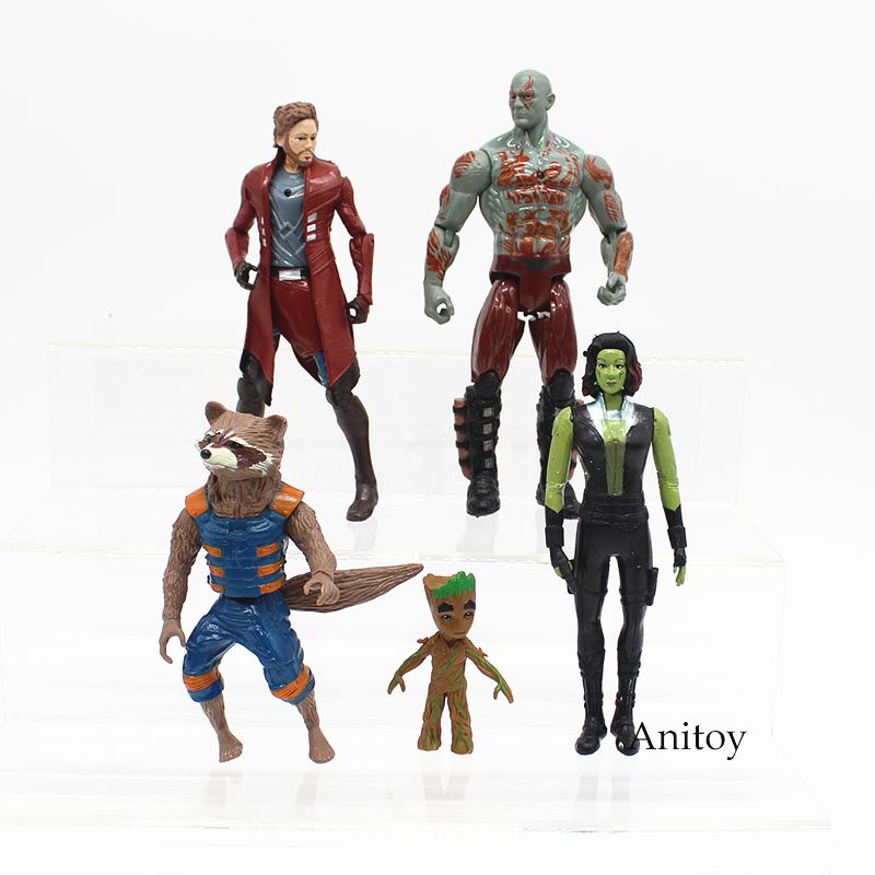 5pcs/set Guardians of the Galaxy PVC Action Figure Collectible Model Toy 6-16cm KT3760 crazy toy guardians of the galaxy groot rocket raccoon 6 24 action figure collection model toy gifts
