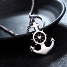HNSP 3.0MM Stainless Steel chain Silver Color Anchor necklace pendant For Men Male Fashion jewelry Gift fashion anchor style zinc alloy shell pendant necklace silver blue