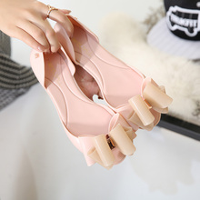 Summer han edition novel bow jelly shoes peep-toe flat breathable wear plastic non-slip contracted female beach sandals