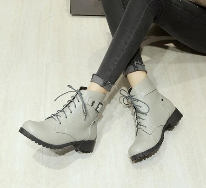 Casual Hiver Bottes Femmes Chaussures Chaussure Pompes Mujer Zapatos 62 Martin Cheville Dames Beige Chunky gray Dentelle black Byb16125 26 Femme Taille Up TPYqYwZC
