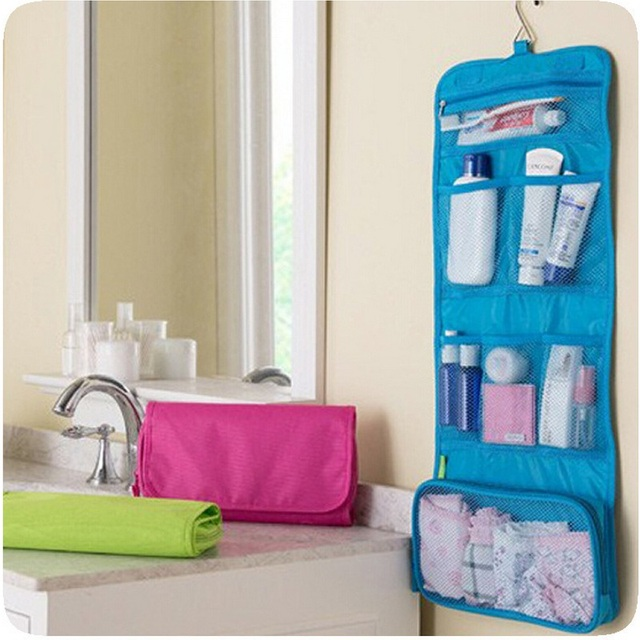 Hanging Toiletry Organizer Bathroom Wall Door Wash Storage Pouch Bag Pocket Folding Travel Cosmetic Make
