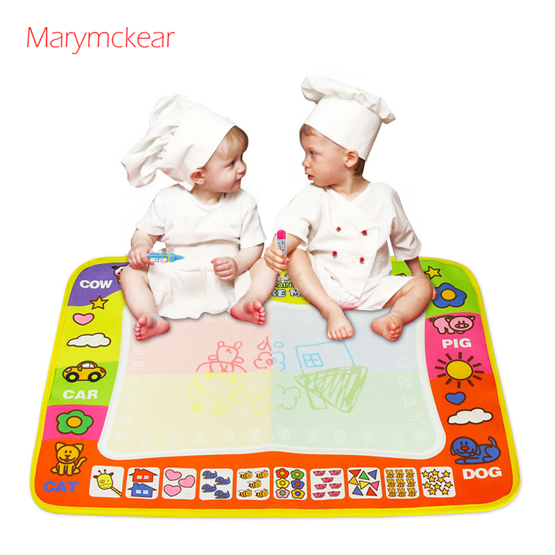 Kids Magic Water Drawing Canvas Coloring Mat With 2 Pens Baby Doodle Painting