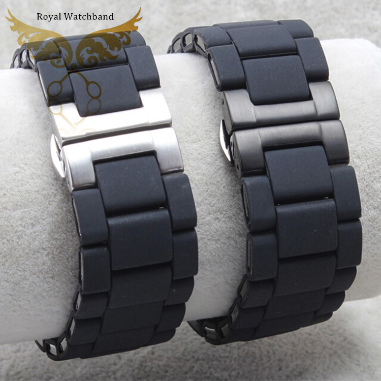 20mm 23mm Watch Band Black Silicone Rubber Wrapped Stainless Steel Watch Band For AR5890 AR5905 AR5906 Watch Replacement Parts 20mm 23mm high quality rubber silicone watchband for armani silicone rubber wrapped stainless steel watch strap for ar5906 5890