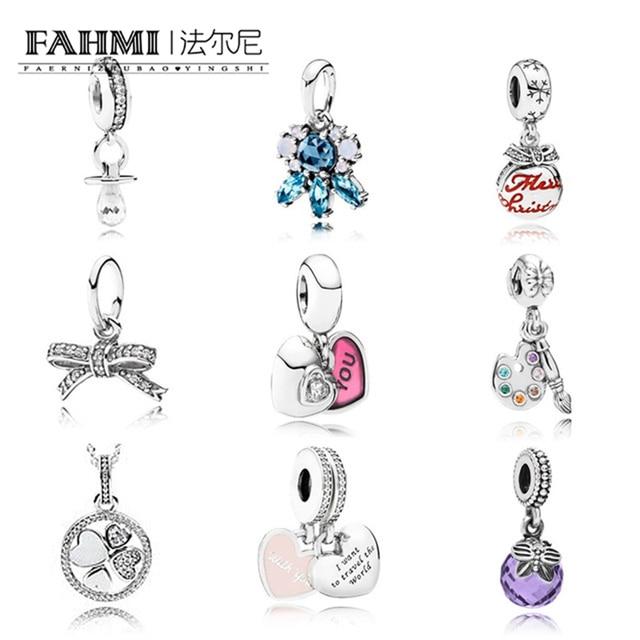 FAHMI925 стерлингового серебра сверкающий бант кулон-узел подвеска с прозрачными кубическими цирконами fit Браслеты Jewelry аксессуары в форме сер...