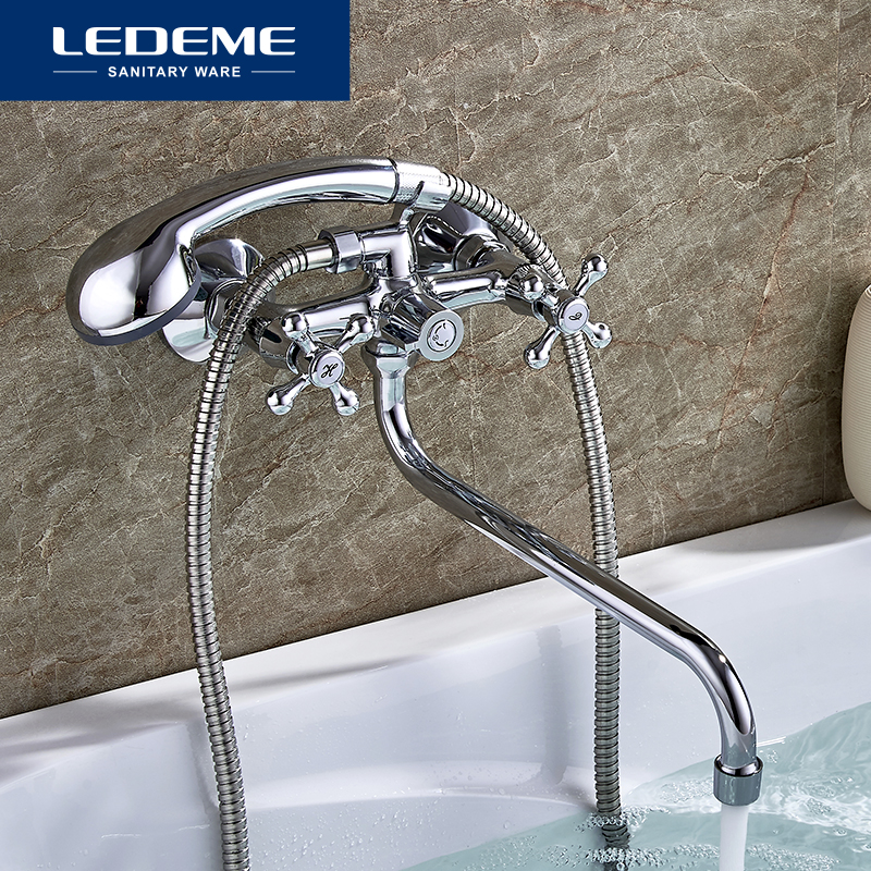 LEDEME Classic Bath Bathtub Faucets Long Trunk Bathroom Bathtub Mixer Hot And Cold Water Dual Control Shower Faucet