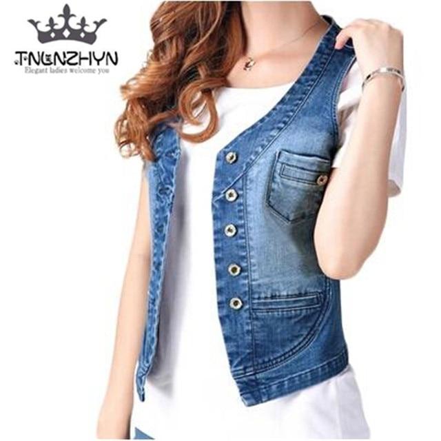 ca1ada80303c TNLNZHYN 2019 Spring Summer Womens Denim Vest Sleeveless Jeans Vest Jacket  Casual Ladies Waistcoat Jacket Plus Size 4xl Y167