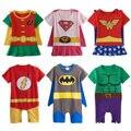 Детские костюмчики для мальчиков и девочек в стиле супер героев, костюмы с короткими рукавами из хлопка, размеры 0-24M