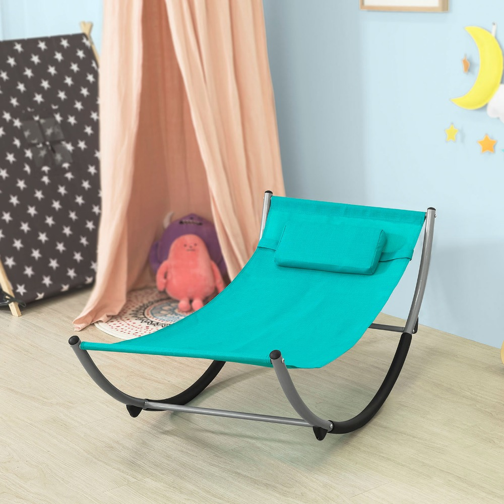 Superb Us 51 25 10 Off Sobuy Kmb04 Outdoor Children Kids Rocking Hammock Sun Lounger Metal Frame Textilene Surface In Chaise Lounge From Furniture On Bralicious Painted Fabric Chair Ideas Braliciousco