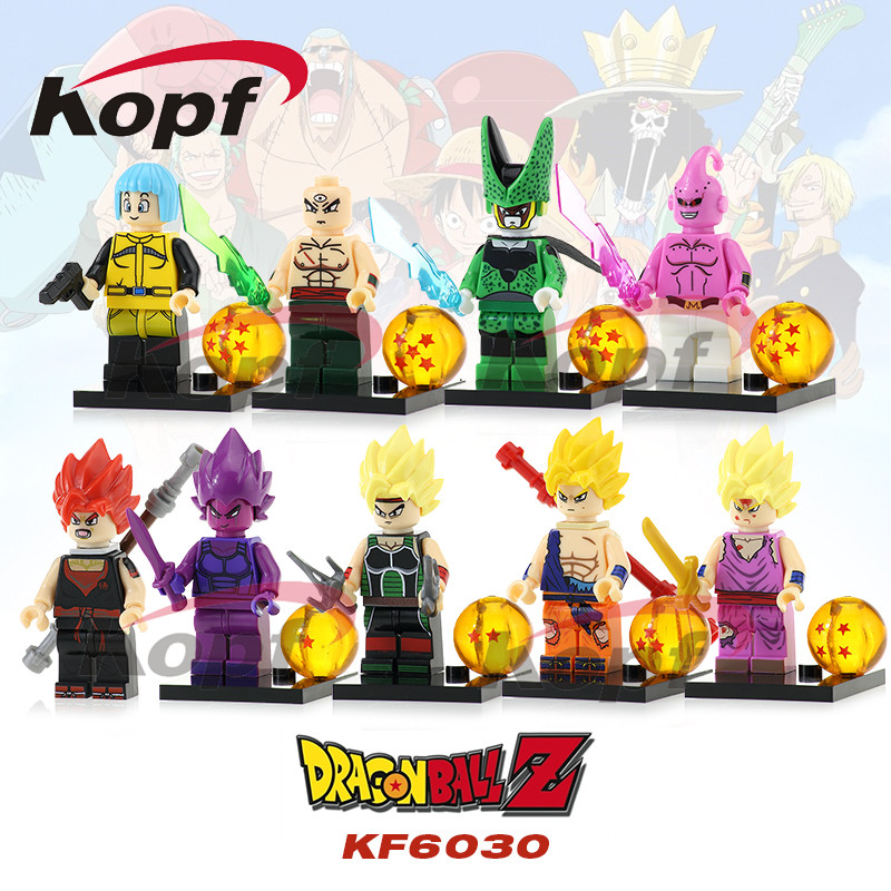 Dragon Ball Z Figures Goku Vegeta Perfect Cell Majin Buu Tien Shin Han Bulma Bardock Building Blocks Toys for children KF6030 jlb 33901 33906 dragon ball z son goku vegeta master roshi minifigures toys building blocks sets model bricks figures legoelieds