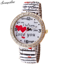 Womens Love Coronary heart Diamond Printed Elastic Bracelet Wrist Quartz Watch wholesale v