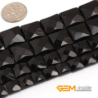 Black Agate Square Faceted Beads Natural Stone Bead DIY Bead For Fashion Jewelry Making Strand 15