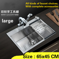 Free Shipping Large Kitchen Sink Durable 304 Stainless Steel Hand Made Single Slot Hot Sell 650x450