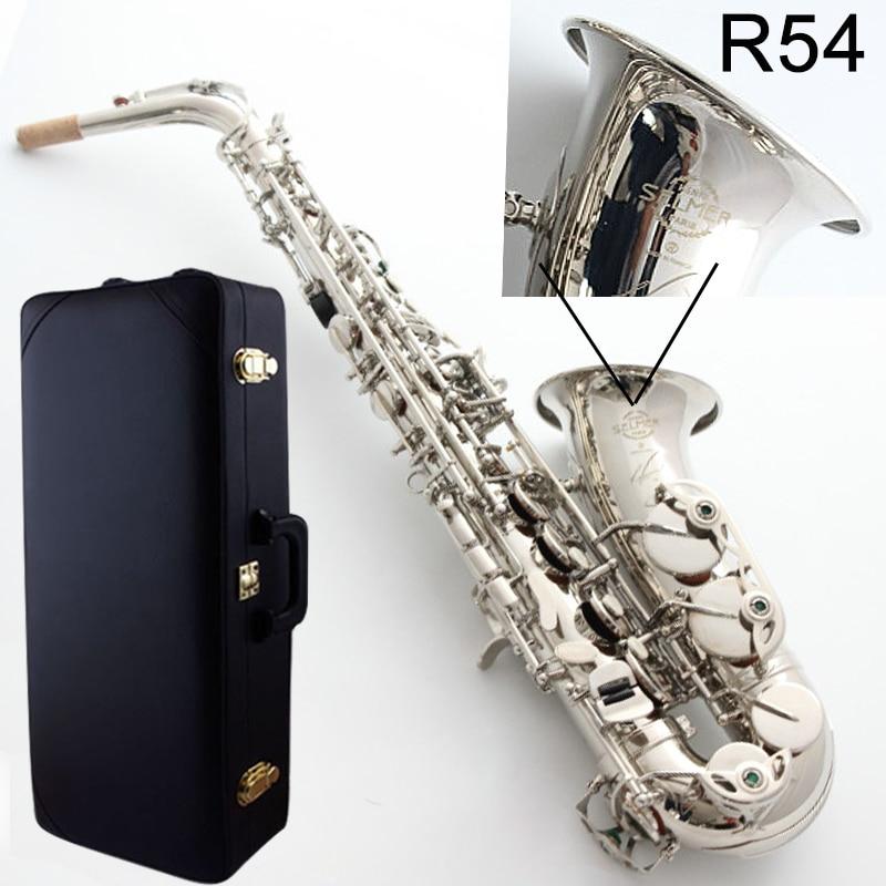 Nouvelle Alto Saxophone France Selme SAS R54 Eb Plat Saxofone Nickel argent En Laiton Sax Professionnel instrument de musique Cas, Porte-Parole