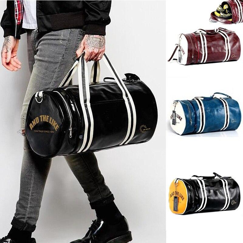 Men Soft Leather barrel Travel Bag Fashion High-Capacity Bag For Men Waterproof Shoulder Luggage Bolsa Deporte Duffel Bag motorcycle tank bag helmet travel tool tail luggage waterproof multi riding tribe
