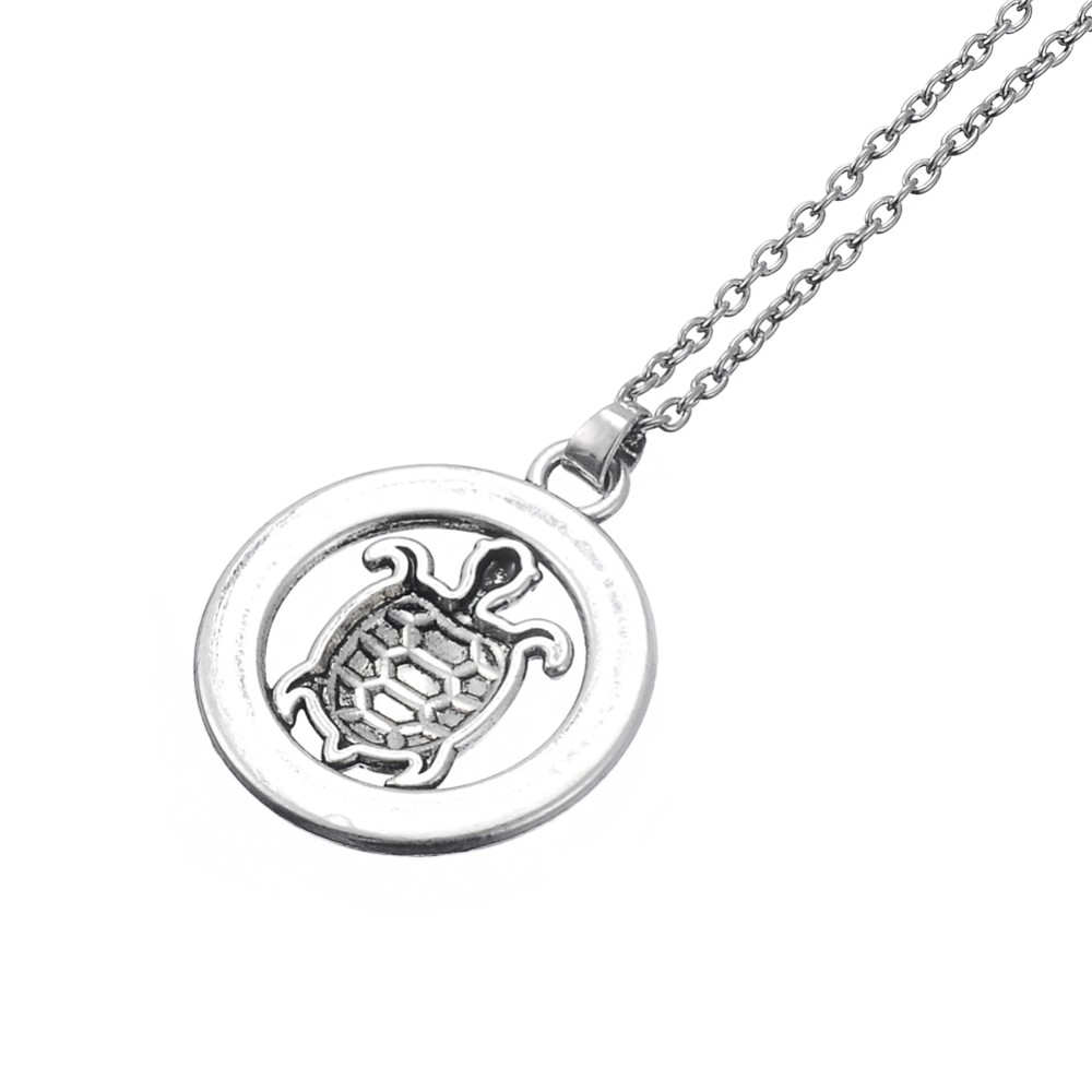 My Shape Turtle Jewelry Slow And Steady Wins The Race Tortoise Circle Affirmation Pendant Inspirational Word Necklace Animal 3