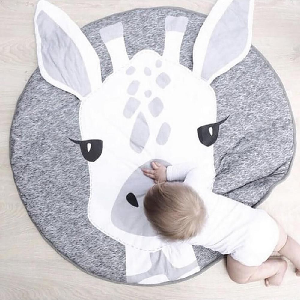 Toddler Cartoon Giraffe Head Play Floor Mat Baby Crawling Blanket Room Decor