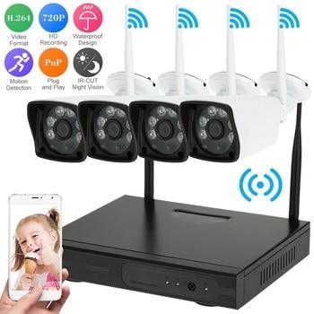 цена на Newest Real Plug & Play 4 Channel Wireless NVR Kit 720P 1.0MP HD Outdoor IR Night Vision Security IP Camera WIFI CCTV System