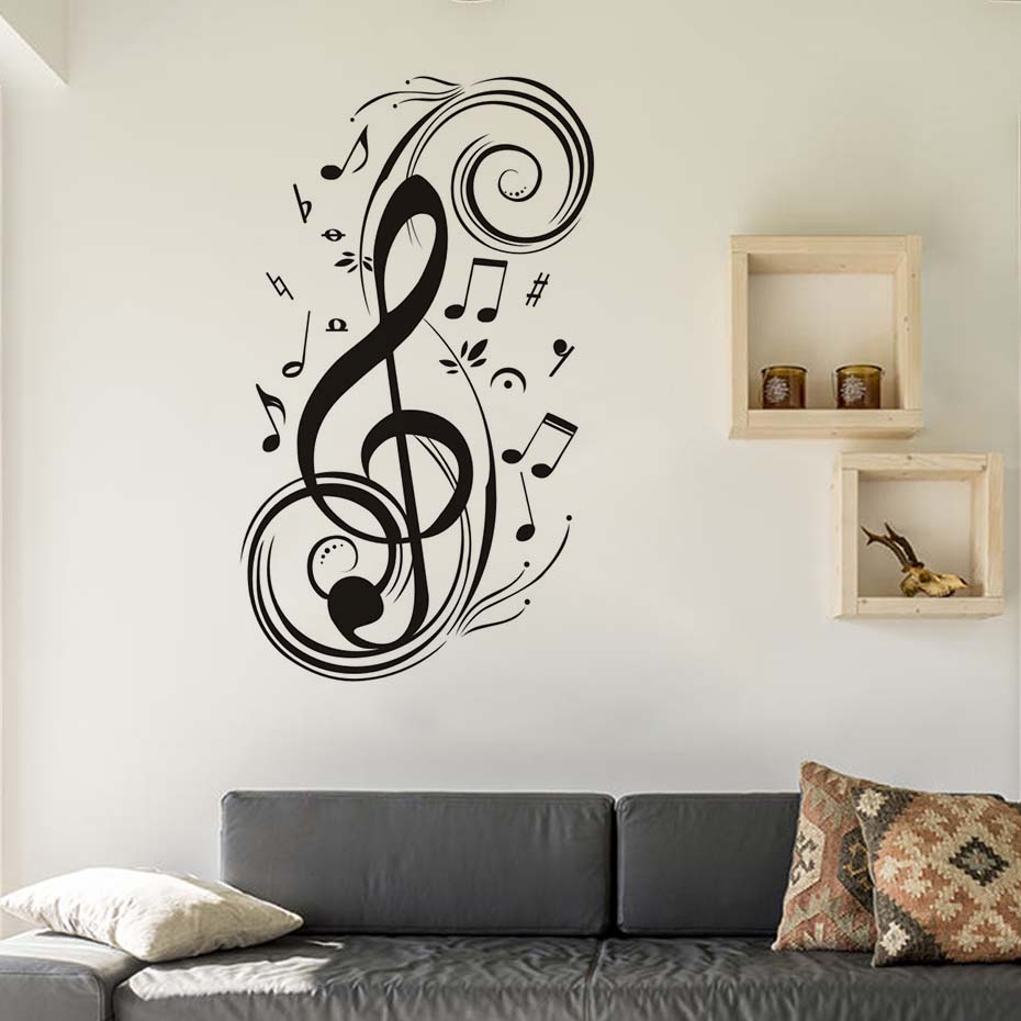 Dctop diy musical note home decor music wall stickers for Wall decals kids room